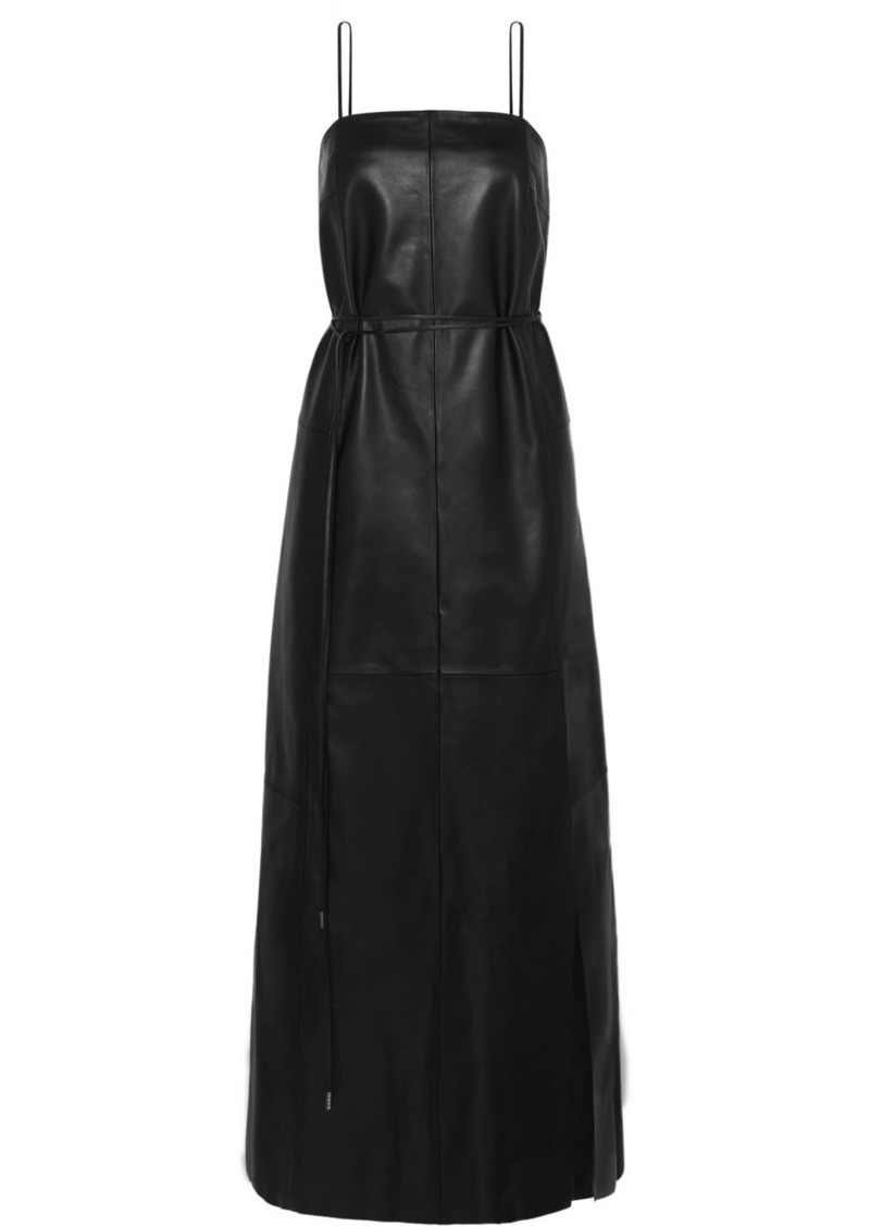 Ferragamo Belted Leather Maxi Dress