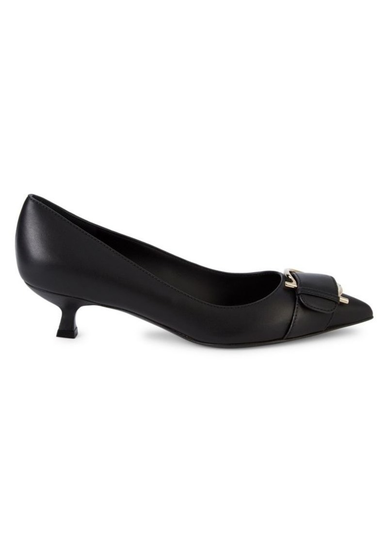 Ferragamo Bion Leather Buckle Pumps