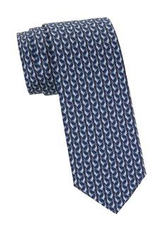 Ferragamo Bird-Print Silk Tie