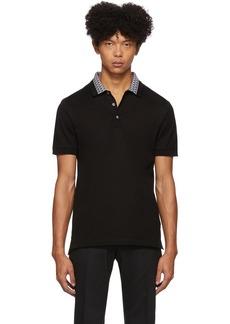Ferragamo Black Collar Print Polo