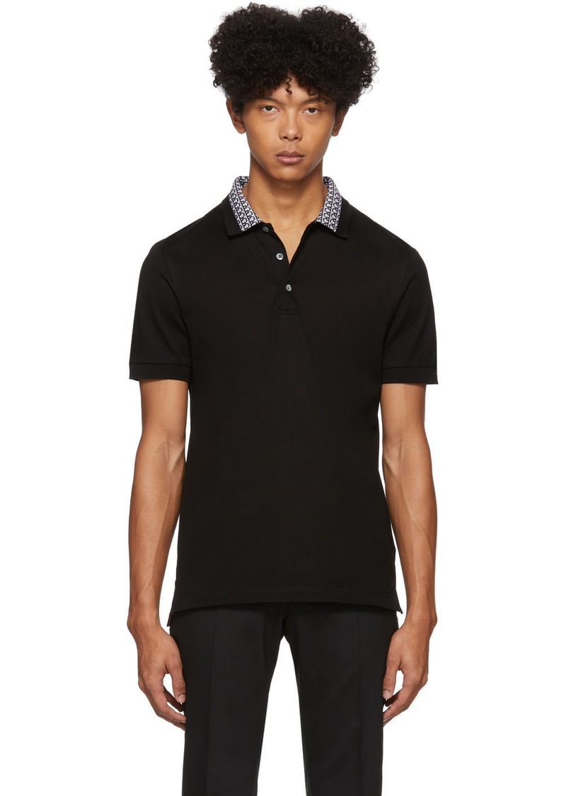 Ferragamo Black Collar Print Polo