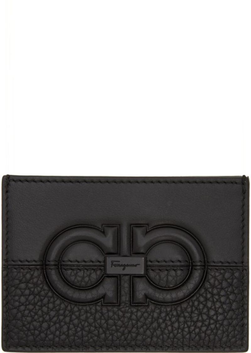 Ferragamo Black Firenze Logo Card Holder