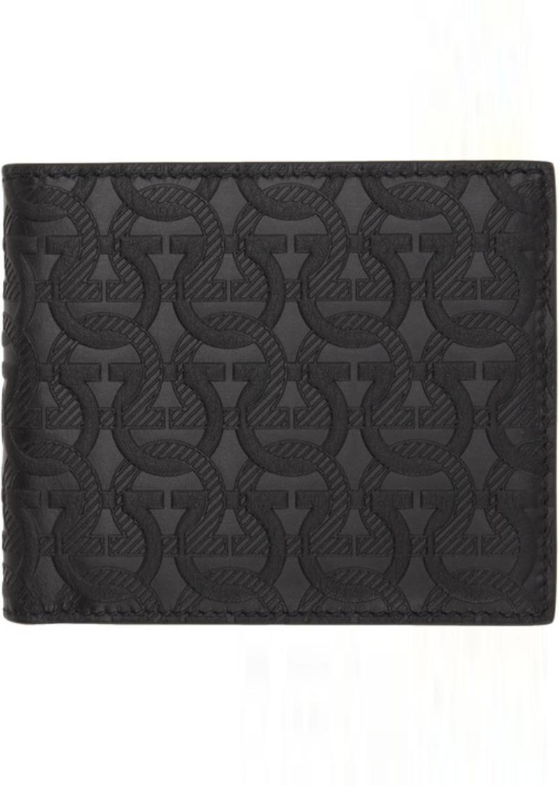 Ferragamo Black Gancini Embossed Wallet