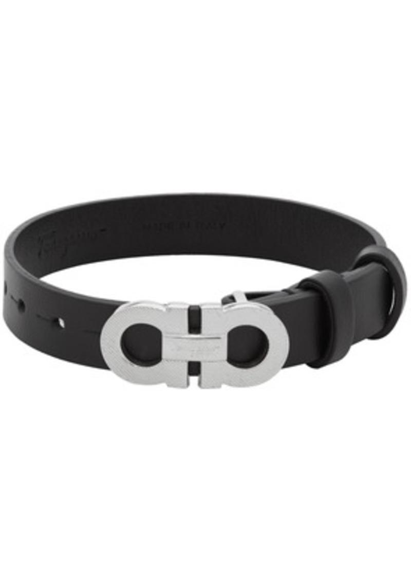 Ferragamo Black Gancini Rigato Bracelet