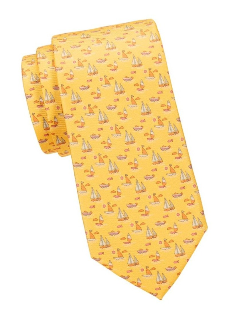 Ferragamo Boat-Print Silk Tie