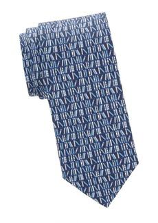 Ferragamo Book-Print Silk Tie