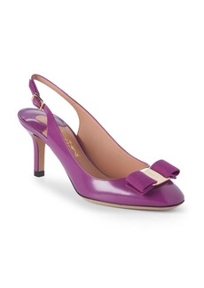 Ferragamo Bow Leather Slingback Pumps