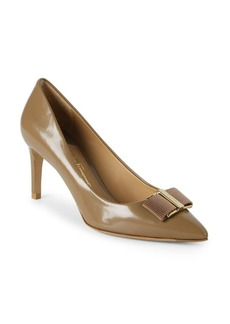 Ferragamo Bow Point Toe Leather Pumps