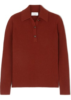 Ferragamo Button-detailed Ribbed Wool And Cashmere-blend Sweater