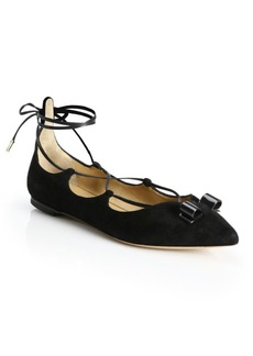 Ferragamo By Edgardo Osorio Claire Suede Lace-Up Bow Flats