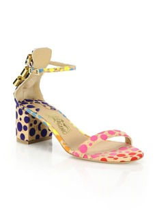 Ferragamo By Edgardo Osorio Connie Polka-Dot Cork Mid-Heel Sandals