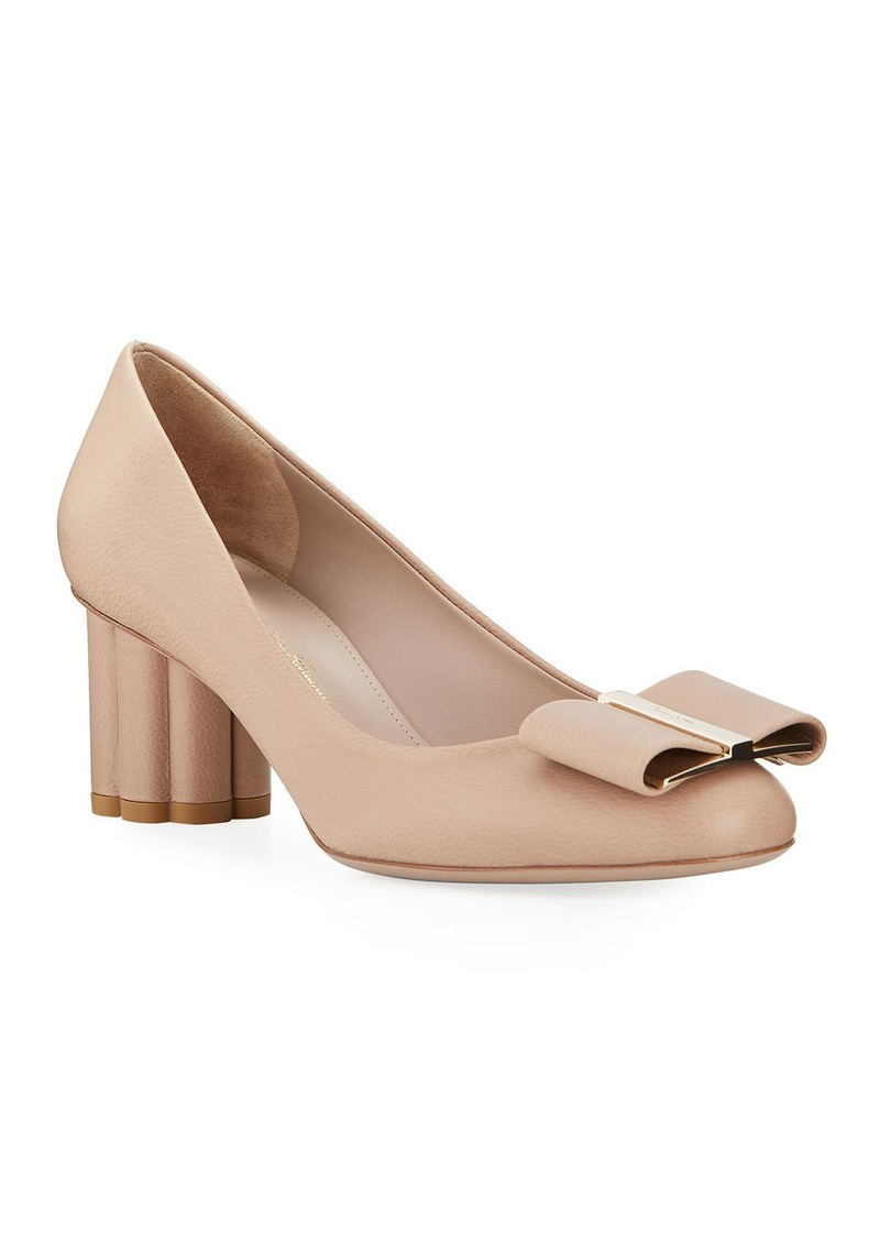 Ferragamo Capua Leather Bow Pumps