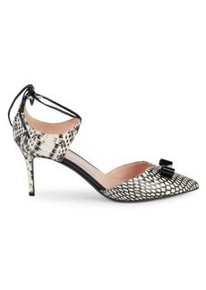 Ferragamo Carolyn Snake Embossed Tie Ankle Pumps