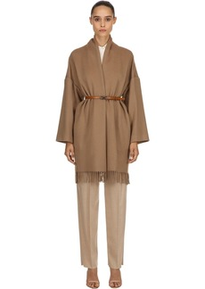 Ferragamo Cashmere Cloth Fringed Coat W/ Belt