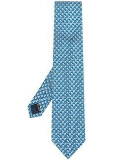 Ferragamo cat and Gancini print tie