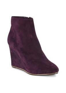 Ferragamo Chain-Trimmed Suede Wedge Ankle Boots