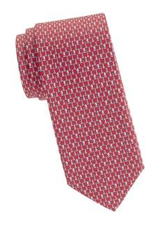 Ferragamo Chess Print Silk Tie