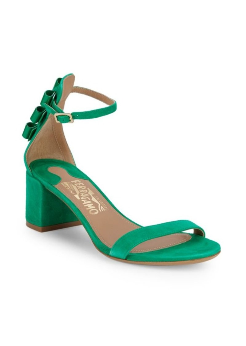 Ferragamo Connie Block Heel Suede Sandals