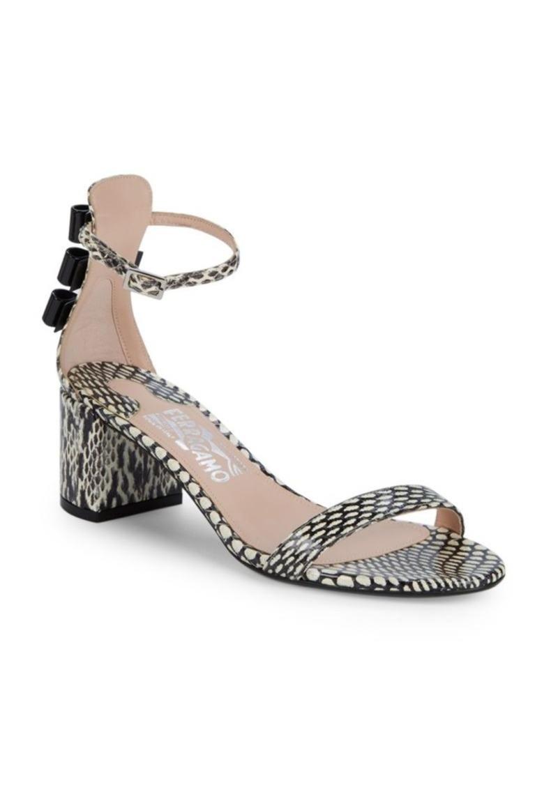 Ferragamo Connie Snakeskin Block Heel Sandals
