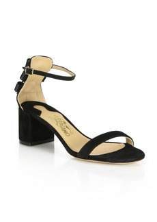 Ferragamo Connie Suede Mid-Heel Sandals