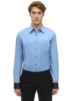 Ferragamo Cotton Shirt W/ Leather Cuffs