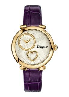 Coure Ferragamo 39mm Diamond-Dial Watch w/ Leather Strap  Purple