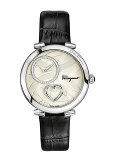 Ferragamo Coure Ferrragamo 39mm Round Heart Watch with Black Croc-Print Strap