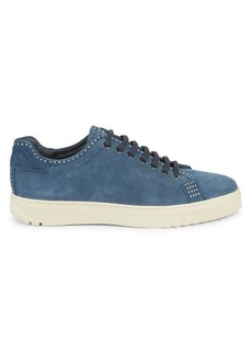 Ferragamo Cube 10 Studded Suede Low-Top Sneakers