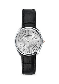 Ferragamo Cuir Stainless Steel & Leather-Strap Watch