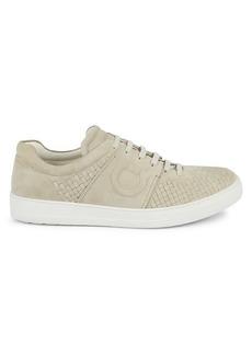 Ferragamo Cult 4 Woven Suede Low-Top Sneakers