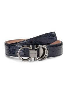Ferragamo Double G Crocodile Belt