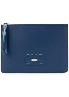 Ferragamo double Gancio embossed clutch