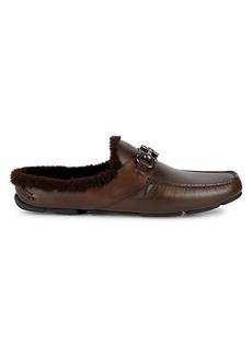 Ferragamo Duca Shearling-Lined Leather Mules