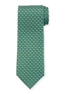Ferragamo Ducks Printed Silk Tie  Green