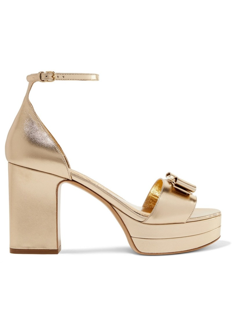 Ferragamo Eclipse Bow-embellished Metallic Leather Platform Sandals