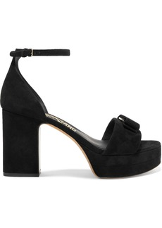 Ferragamo Eclipse Bow-embellished Suede Platform Sandals
