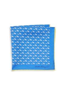 Ferragamo Elephant & Mouse Silk Pocket Square