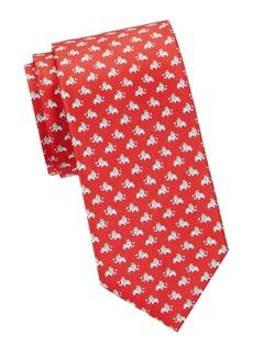 Ferragamo Elephant-Print Silk Tie