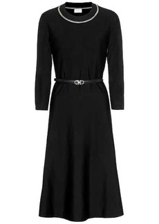 Ferragamo Embellished wool-blend dress