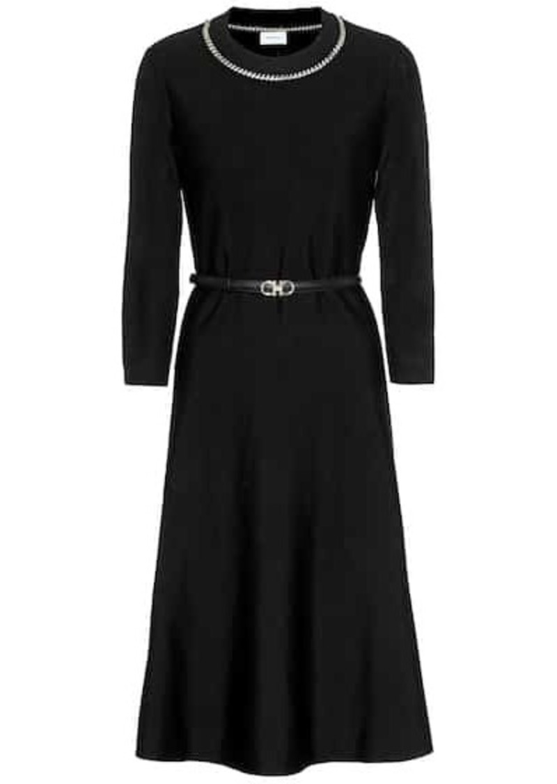 Ferragamo Embellished wool-blend dress