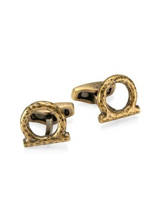 Ferragamo Embossed Brass Cufflinks