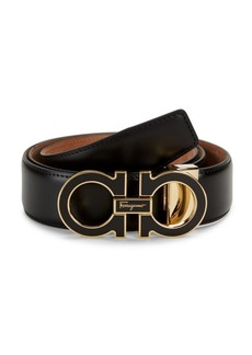 Ferragamo Enamel Double G Two-Tone Leather Belt