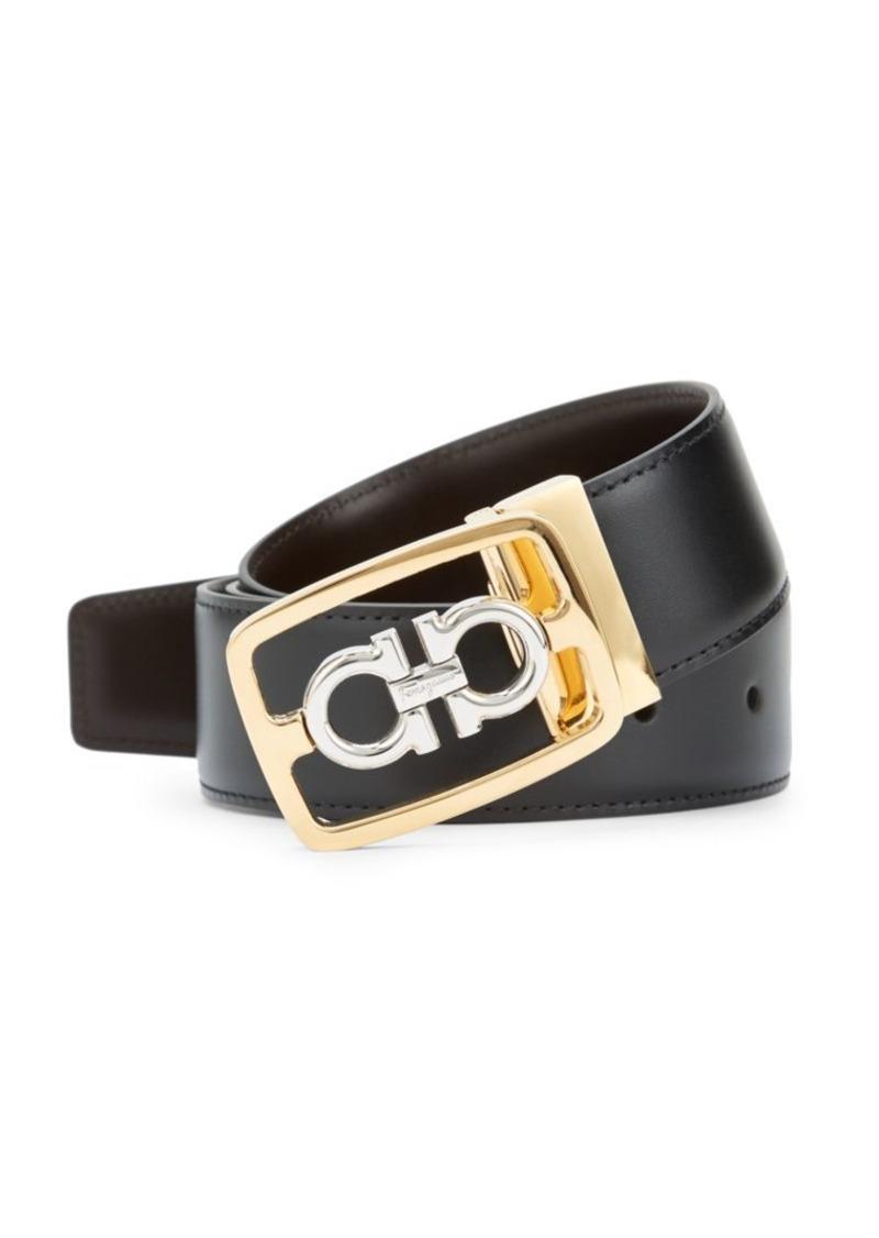 Ferragamo Encased Gancini Leather Belt