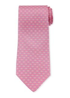 Ferragamo Enne Gancini Silk Tie  Pink