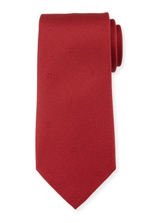 Ferragamo Eston Solid Silk Tie  Red