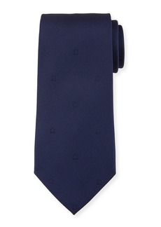 Ferragamo Eston Solid Silk Tie  Blue