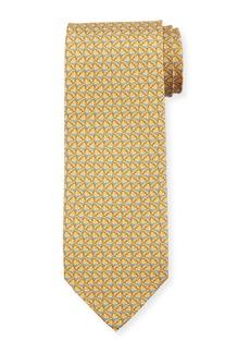 Ferragamo Faggio Leaf Printed Silk Tie  Yellow