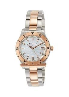 Ferragamo 1898 Two-Tone IP Stainless Steel & Mother-Of-Pearl Bracelet Watch