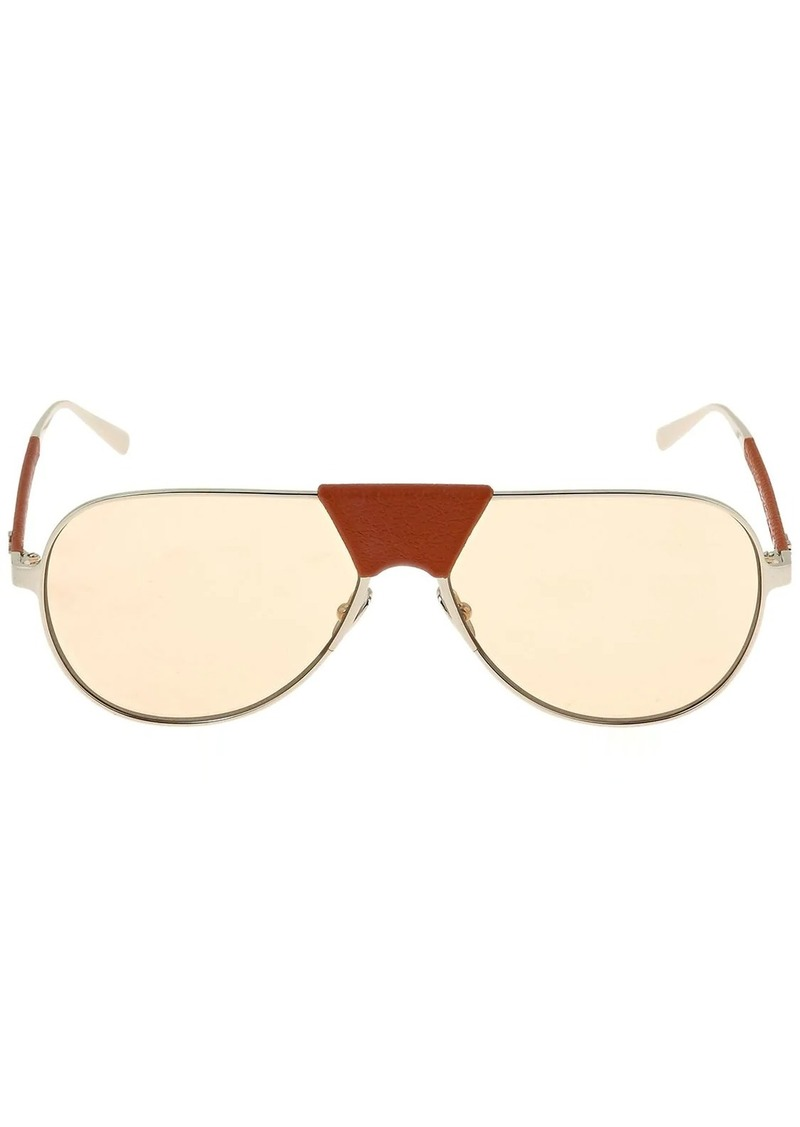 Ferragamo Metal Sunglasses W/ Leather