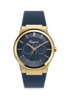 Ferragamo Sapphire Yellow Gold IP Double Gancini Rubber Strap Watch